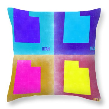 Utah Pop Art Map 2 Throw Pillow by Naxart Studio