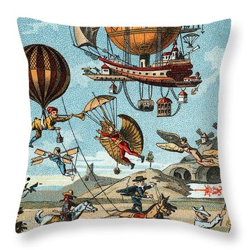 Utopian Flying Machines 19th Century Throw Pillow by Science Source