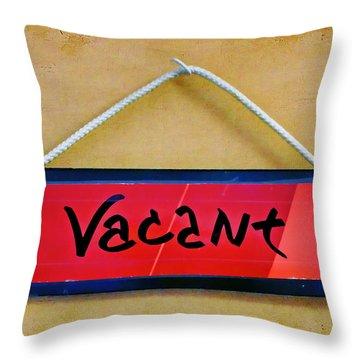 Vacant Throw Pillow by Nikolyn McDonald