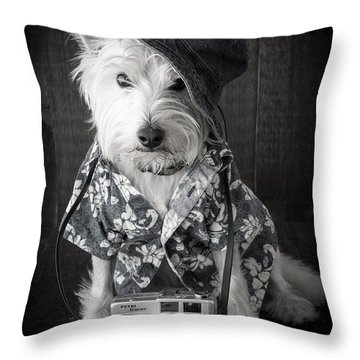 Vacation Dog With Camera And Hawaiian Shirt Throw Pillow by Edward Fielding