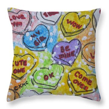 Valentine Candy Hearts Throw Pillow by Kathy Marrs Chandler