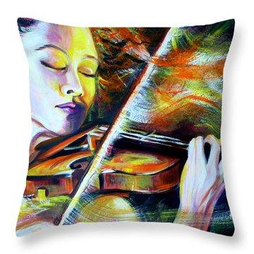 Vanessa-mae.power Of Music Throw Pillow by Anna  Duyunova