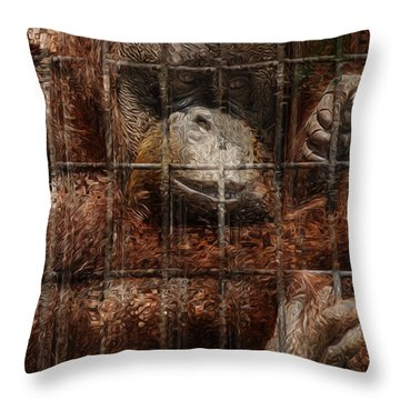 Vanishing Cage Throw Pillow by Jack Zulli