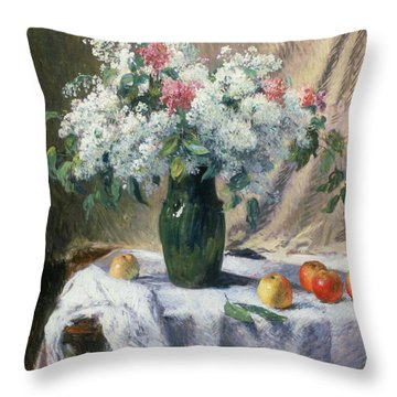Vase Of Flowers Throw Pillow by Henri Lerolle