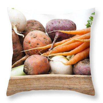 Veg Box Throw Pillow by Anne Gilbert