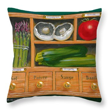 Vegetable Shelf Throw Pillow by Brian James