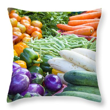 Vegetables Stand In Wet Market Throw Pillow by JPLDesigns