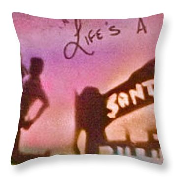 Venice Beach To Santa Monica Pink Throw Pillow by Tony B Conscious