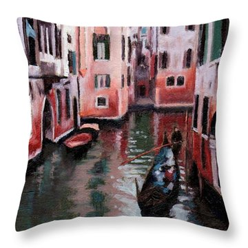 Venice Gondola Ride Throw Pillow by Janet King