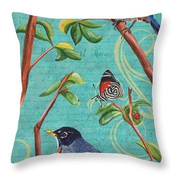 Verdigris Songbirds 1 Throw Pillow by Debbie DeWitt