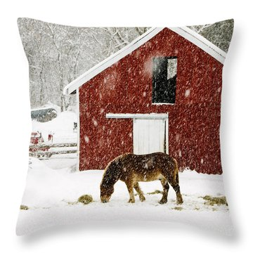 Vermont Christmas Eve Snowstorm Throw Pillow by Edward Fielding