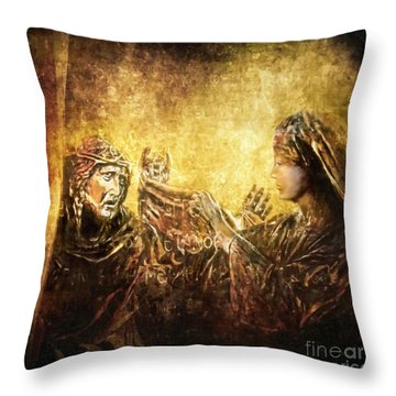 Veronica Wipes His Face Via Dolorosa 6 Throw Pillow by Lianne Schneider