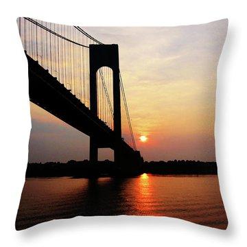 Verrazano Bridge At Dawn Throw Pillow by Susan Savad