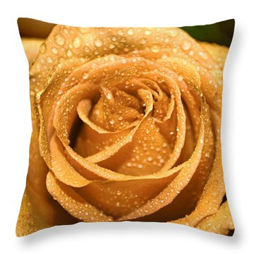 Very Wet Rose Throw Pillow by Debbie Portwood