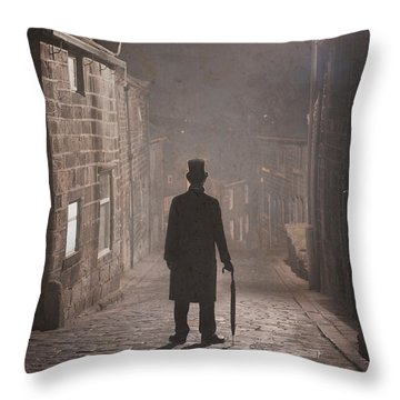 Victorian Man With Top Hat On A Cobbled Street At Night In Fog Throw Pillow by Lee Avison