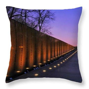 Vietnam Veterans Memorial At Sunset Throw Pillow by Pixabay