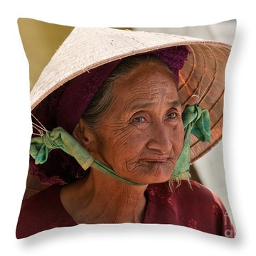 Vietnamese Lady Throw Pillow by Rick Piper Photography