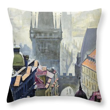 View From The Mostecka Street In The Direction Of Charles Bridge Throw Pillow by Yuriy Shevchuk