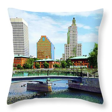 View From Waterplace Park Providence Ri Throw Pillow by Susan Savad