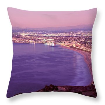 View Of Los Angeles Downtown Throw Pillow by Panoramic Images