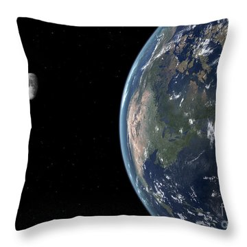 View Of North America With Rise In Sea Throw Pillow by Walter Myers