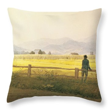 View Of Schmiedebergerkamm Throw Pillow by Caspar David Friedrich