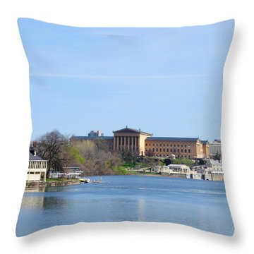 View Of The Art Museum And Waterworks In Philadelphia Throw Pillow by Bill Cannon