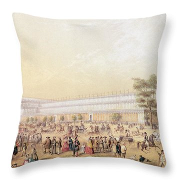 View Of The Crystal Palace Throw Pillow by George Baxter