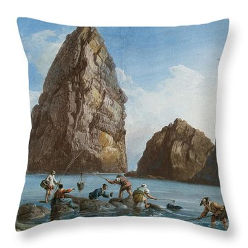 View Of The Rocks On The Third Island Of Cyclops Throw Pillow by Jean-Pierre-Louis-Laurent Houel