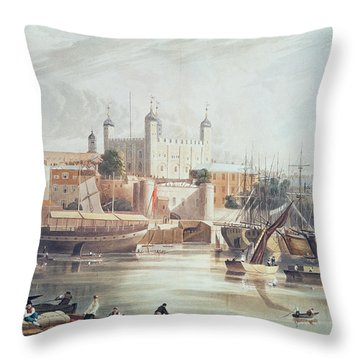 View Of The Tower Of London Throw Pillow by John Gendall