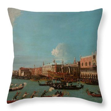 View Of Venice With The Doge Palace And The Salute Throw Pillow by Canaletto