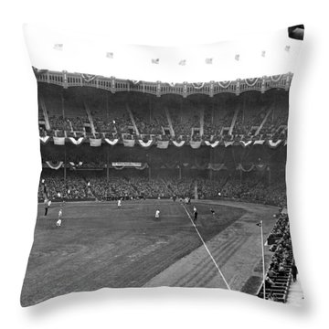 View Of Yankee Stadium Throw Pillow by Underwood Archives