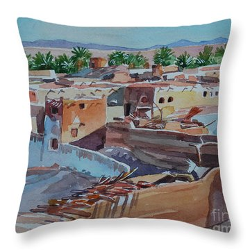 Village Throw Pillow by Mohamed Fadul
