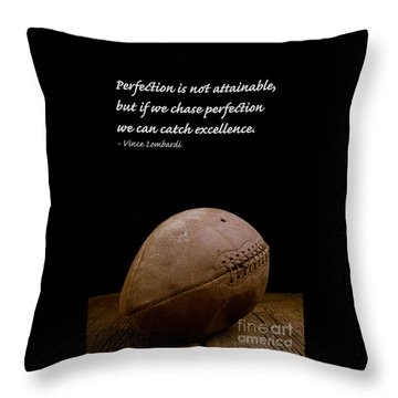 Vince Lombardi On Perfection Throw Pillow by Edward Fielding