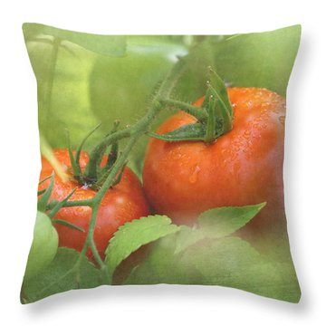Vine Ripened Tomatoes Throw Pillow by Angie Vogel