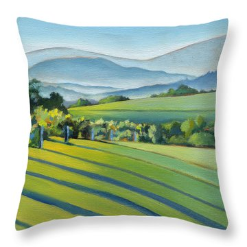 Vineyard Blue Ridge On Buck Mountain Road Virginia Throw Pillow by Catherine Twomey