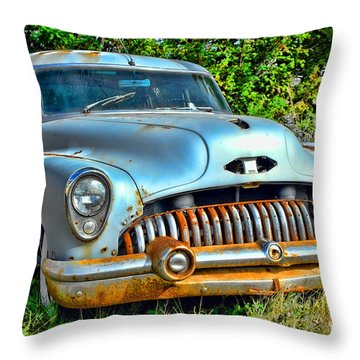 Vintage American Car In Yard Throw Pillow by Olivier Le Queinec