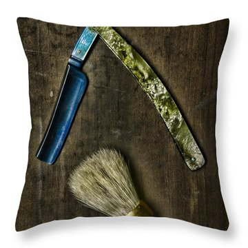 Vintage Barber Tools Throw Pillow by Paul Ward