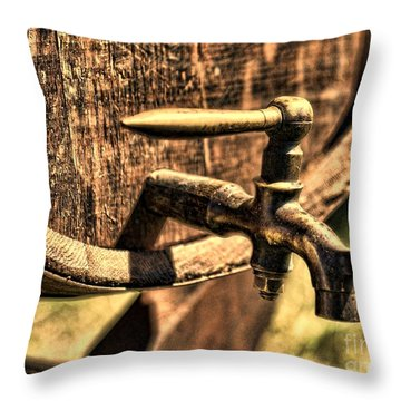 Vintage Barrel Tap Throw Pillow by Paul Ward