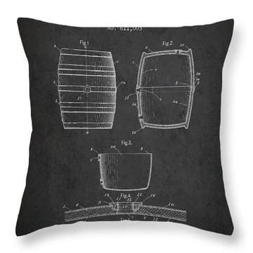 Vintage Beer Keg Patent Drawing From 1898 - Dark Throw Pillow by Aged Pixel
