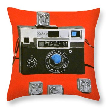 Vintage Camera With Flash Cube Throw Pillow by Karyn Robinson