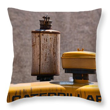 Vintage Caterpillar Machine Throw Pillow by Les Palenik