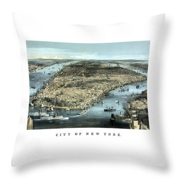 Vintage City Of New York Throw Pillow by War Is Hell Store