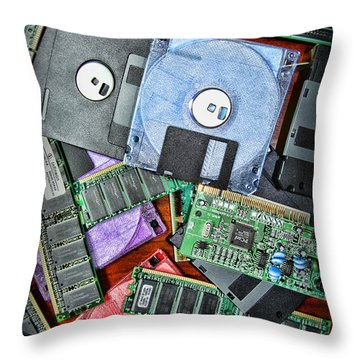 Vintage Computer Parts Throw Pillow by Paul Ward