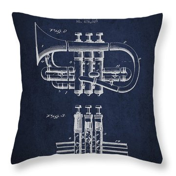 Cornet Patent Drawing From 1901 - Blue Throw Pillow by Aged Pixel