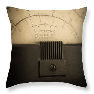 Vintage Electric Meter Throw Pillow by Edward Fielding