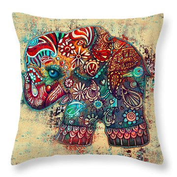 Vintage Elephant Throw Pillow by Karin Taylor