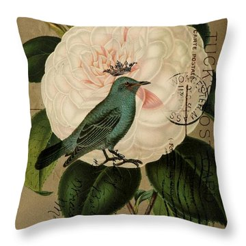 Vintage French Botanical Art Pink Rose Teal Bird Throw Pillow by Cranberry Sky