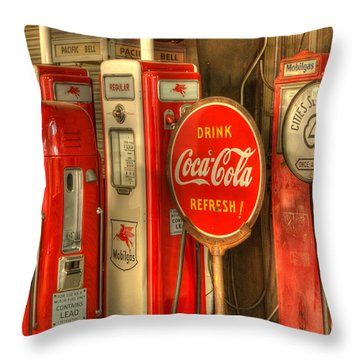 Vintage Gasoline Pumps With Coca Cola Sign Throw Pillow by Bob Christopher