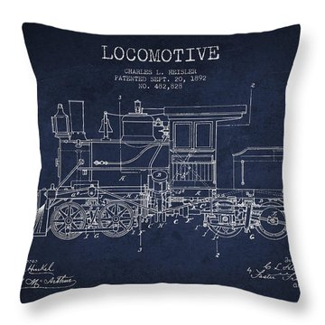 Vintage Locomotive Patent From 1892 Throw Pillow by Aged Pixel